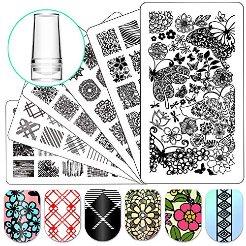 Nail Stamping Plate Nail Stamper - Ejiubas Nail Art Stamp 3 Pcs Nail Stamper Plates 1 Clear Nail Art Stamper DIY Nail Stamp Kit EJB-01&06&08]()