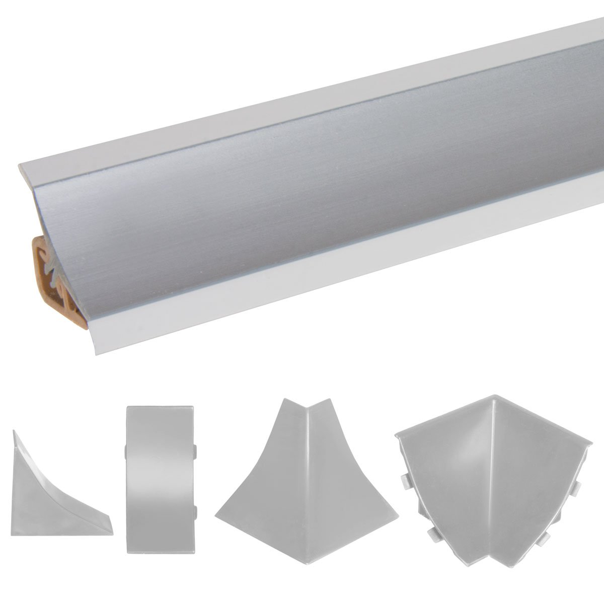 HOLZBRINK Perfil de Remate Suave Negro Pre Cortado Perfil de PVC 25 m 70x20 mm