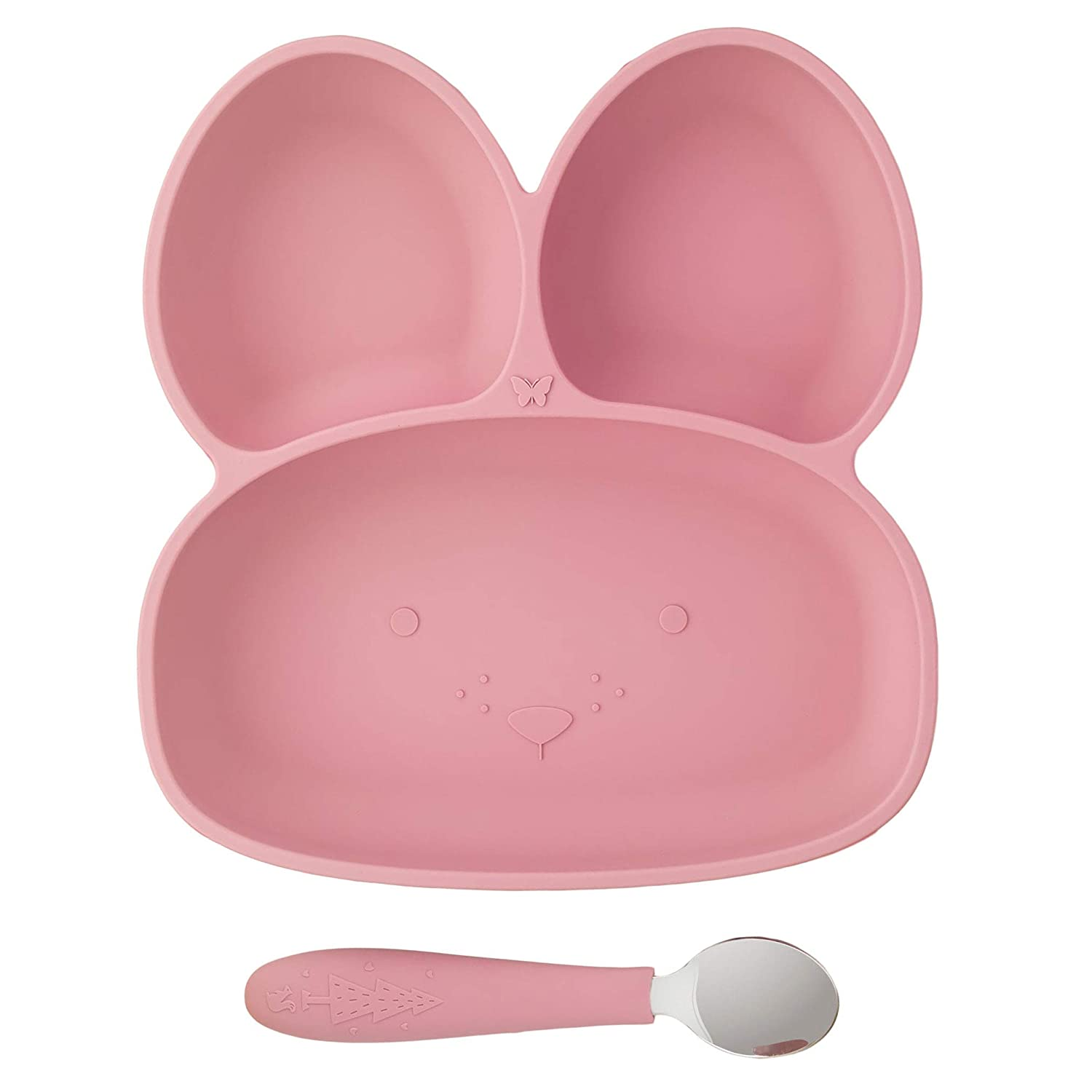 Elk and Friends Bunny Silicone Suction Plate for Babies/Toddlers + Stainless Steel Spoon | Divided Plate | Easter Fun | 4 Colors