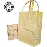 Reusable Waxed Canvas Grocery Bag - True Natured 16oz Heavy Duty Canvas Shopping Bags - 100% Plastic-Free, Vegan Cloth Bag - Extra Large 17x11.25 Tote Bag With Handles - Big Foldable Bag for Groceries