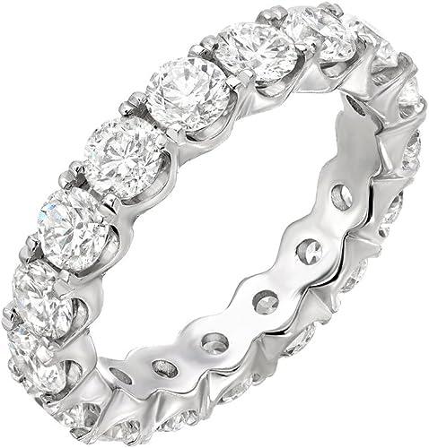 3//4 CT 3D Diamond 3 Sided Stacking FULL Eternity Wedding Band 14K White Gold GP