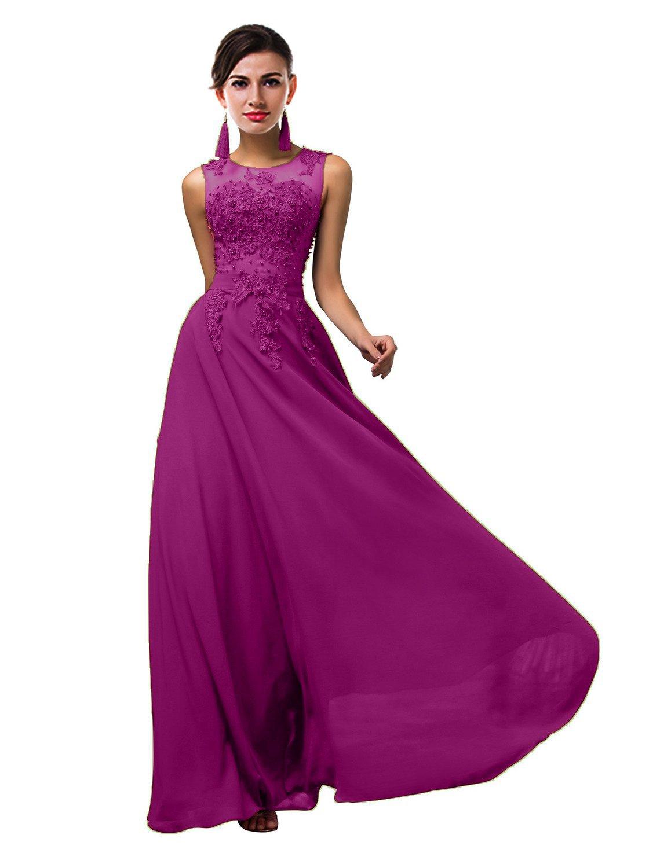 ThaliaDress Long Sheer Neck Evening Bridesmaid Dresses Prom Gown T004LF Plum US22W