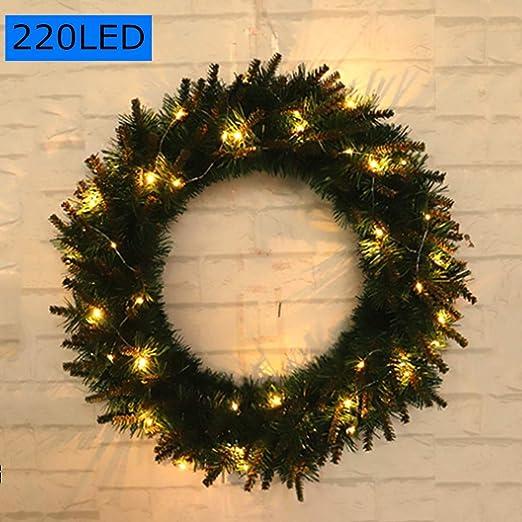 Gogh Corona de Navidad con Luces 220LED, 60 cm / 24 Pulgadas, Invernal Guirnalda para Las Decoraciones de Navidad para Inicio de Windows y Puertas: Amazon.es: Hogar