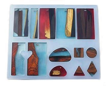 yalulu 13 de silicona moldes para resina de moldeo para joyería colgante collar haciendo molde DIY mano Craft herramienta: Amazon.es: Hogar