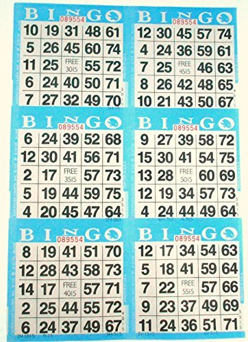 6 on Blue Bingo Paper Cards - 500 sheets - 3000 cards by American Games American Games INC