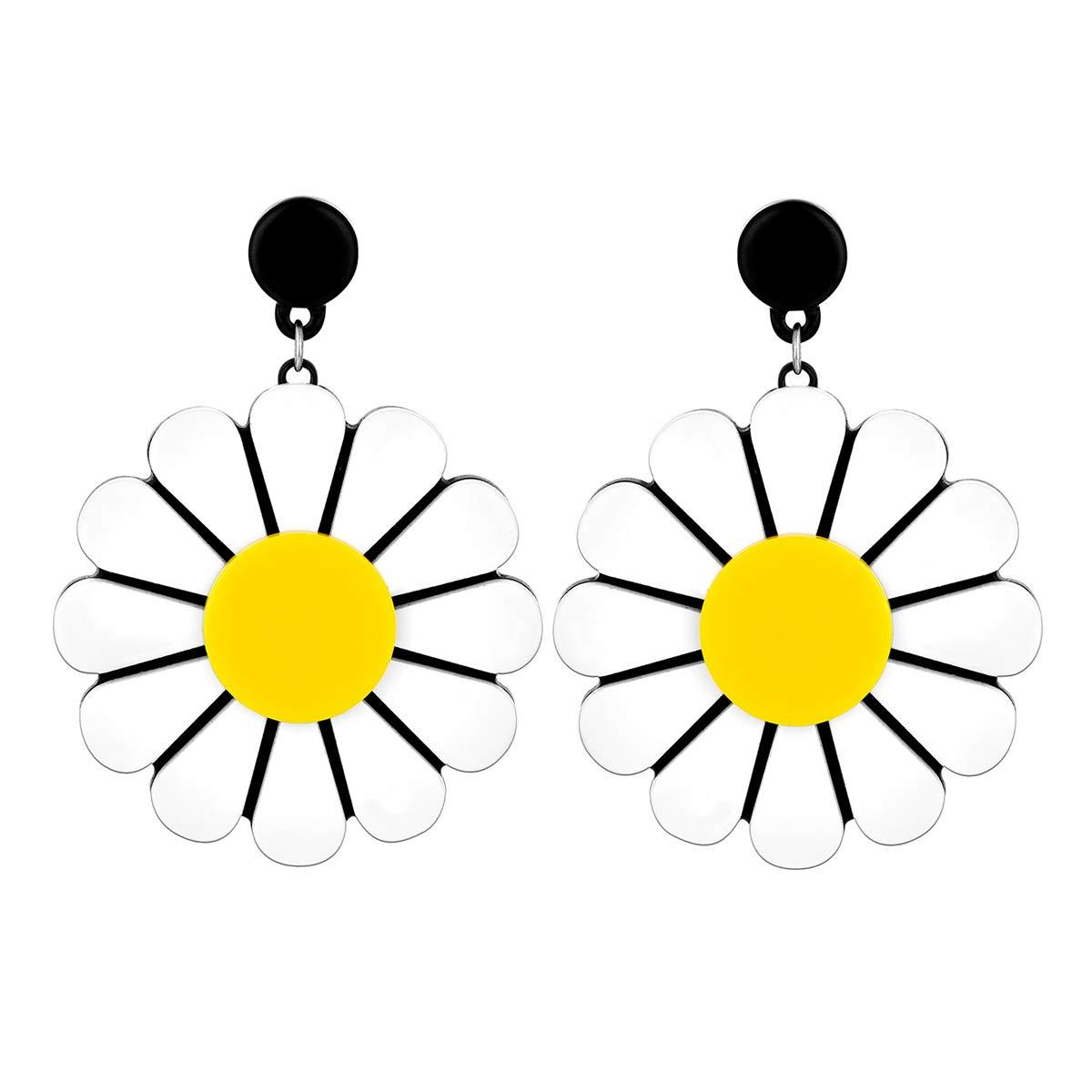Starchenie Fashion Acrylic Daisy Flower Dangle Earrings for Piercing Ears Women Drop Earrings Gift for Women Girls