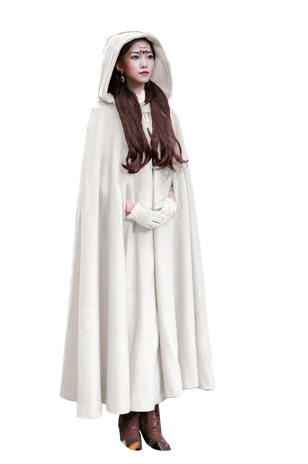Baoqiya Womens Capes Hooded Cloak Outwear Poncho Warm Autumn and Winter Coat, White, free