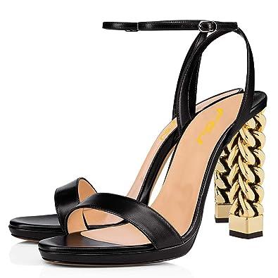 f1699e6e6ed Amazon.com | FSJ Women Gold Metal Chain Thick High Heel Sandals Open ...