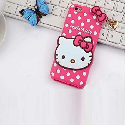 Trifty Apple Iphone 6/6s Girl's Back Cover Hello Kitty Silicon With Pendant   Pink Cases   Covers
