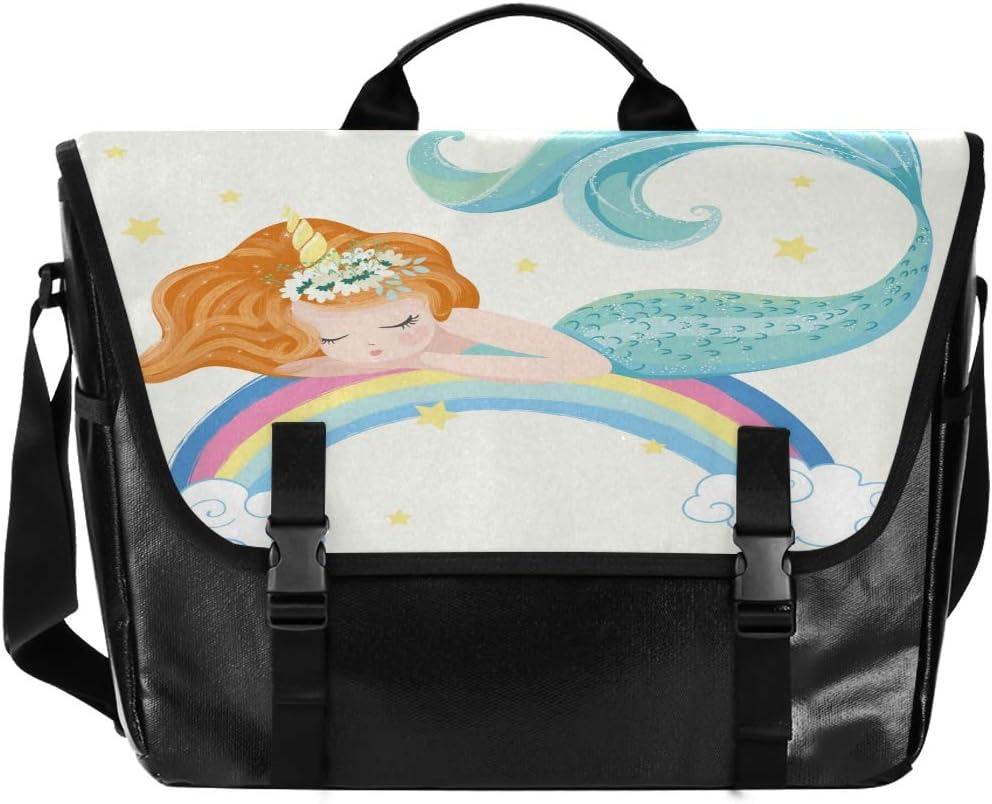 ALAZA Cute Mermaid Rainbow Stars Cloud Messenger Bag 15.6 Inch Waterproof Canvas Satchel Briefcase Shoulder Bag Business Computer Laptop for Men Boy Teen
