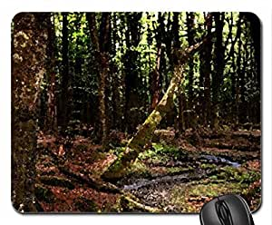 wonderful creek winding through forest Mouse Pad, Mousepad (Rivers Mouse Pad, Watercolor style)