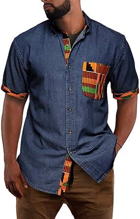 Fueri - Camisa tribal africana para hombre, manga corta, estampado de mezclilla, con botones