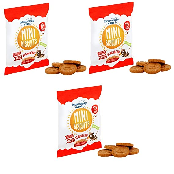 Heavenly Tasty Galletas Mini de Fresa 30g Pack de 3