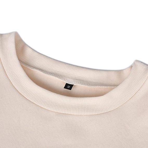 DEELIN Las Mujeres Casuales De Moda De Color SóLido De Manga Corta Cuello Redondo SuéTer Que Basa La Camiseta Sudadera Camiseta Suelta Top T-Shirt Top: ...