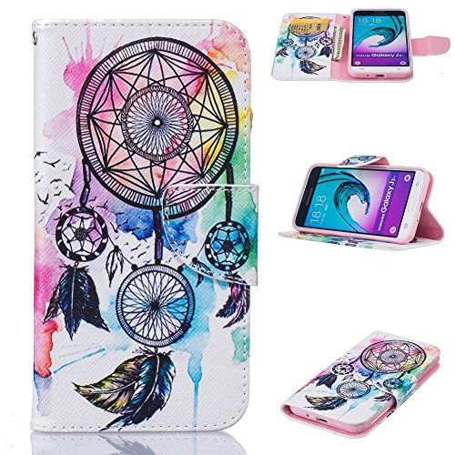 Galaxy J3/J310 2016 Case, Firefish Flip Folio Wallet Kickstand [Shock Absorption] Synthetic Leather Shell Magnetic Clip Scratch Proof Case for Samsung Galaxy J3/J310 2016 -Dream Catcher (Case Paris Note Samsung 2)