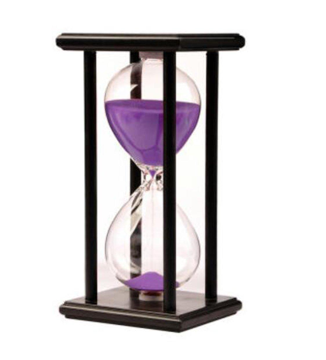LiMeiW 30 minutes Hourglass Wooden sand Timer 45 Mins Home decoration Kitchen timer (30 minutes black box purple)