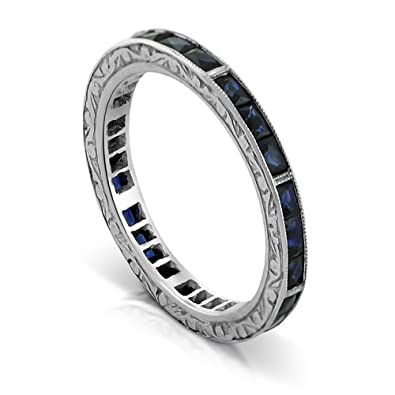 Amazon.com: 1.44Ct Platinum French Cut Baguette Blue Sapphires ...