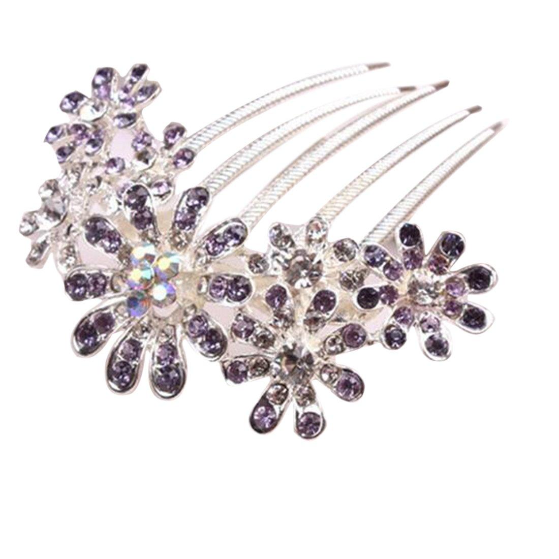 Las mujeres hermoso cristal Rhinestone Decoració n de pé talos Tuck peine de pelo Clip Pin de flores de color rosa CY-Buity
