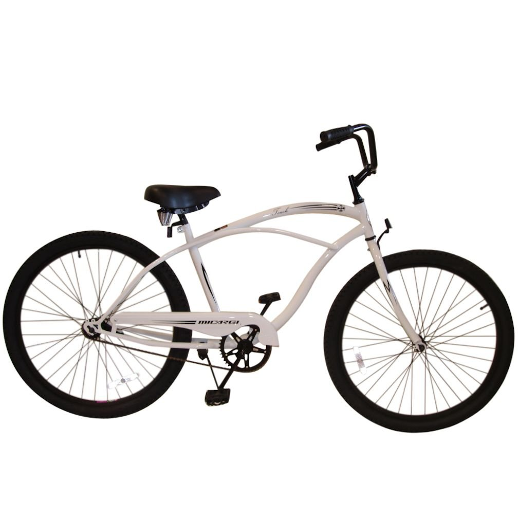Micargi Bicycles Touch 26 Men's Beach Cruiser Bicycle White with Black Rims by Micargi Bicycles B009IUR81M