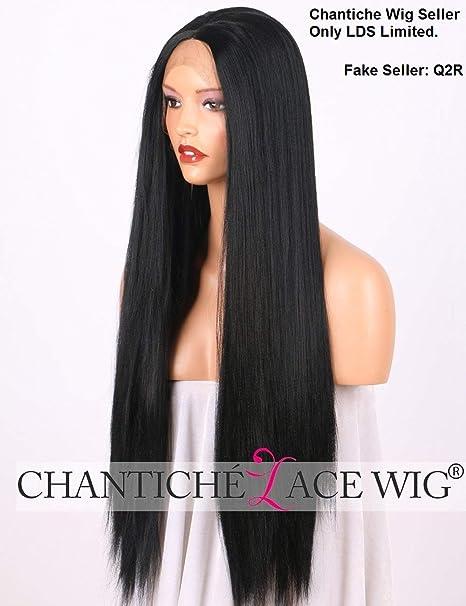 Chantiche  ndash  Peluca Yaki de malla frontal de cabello sint eacute tico  para mujer 318c4ff5c331