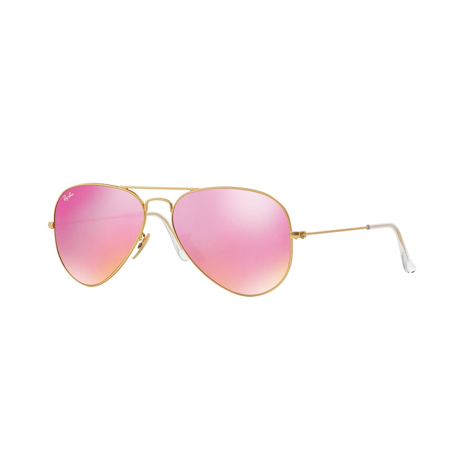 54373ce71d Ray-Ban Classic Aviator Sunglasses in Matte Gold Pink Mirror RB3025 112 4T  58  Amazon.co.uk  Clothing