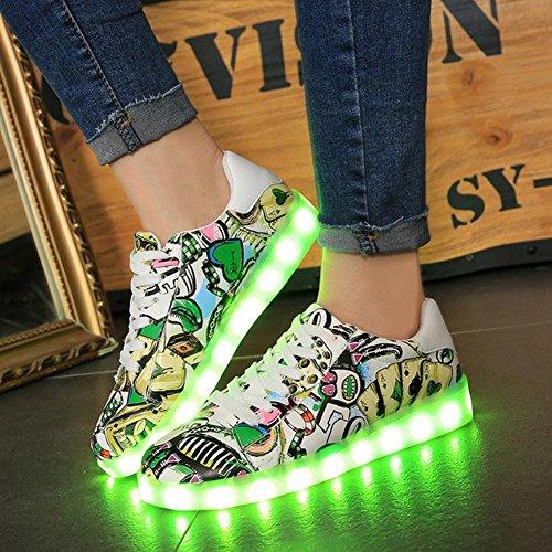 Zapatos ligeros de la pintada LED verano y otoño zapatos ocasionales de la manera cambio de siete colores once clases de modo que destella Green