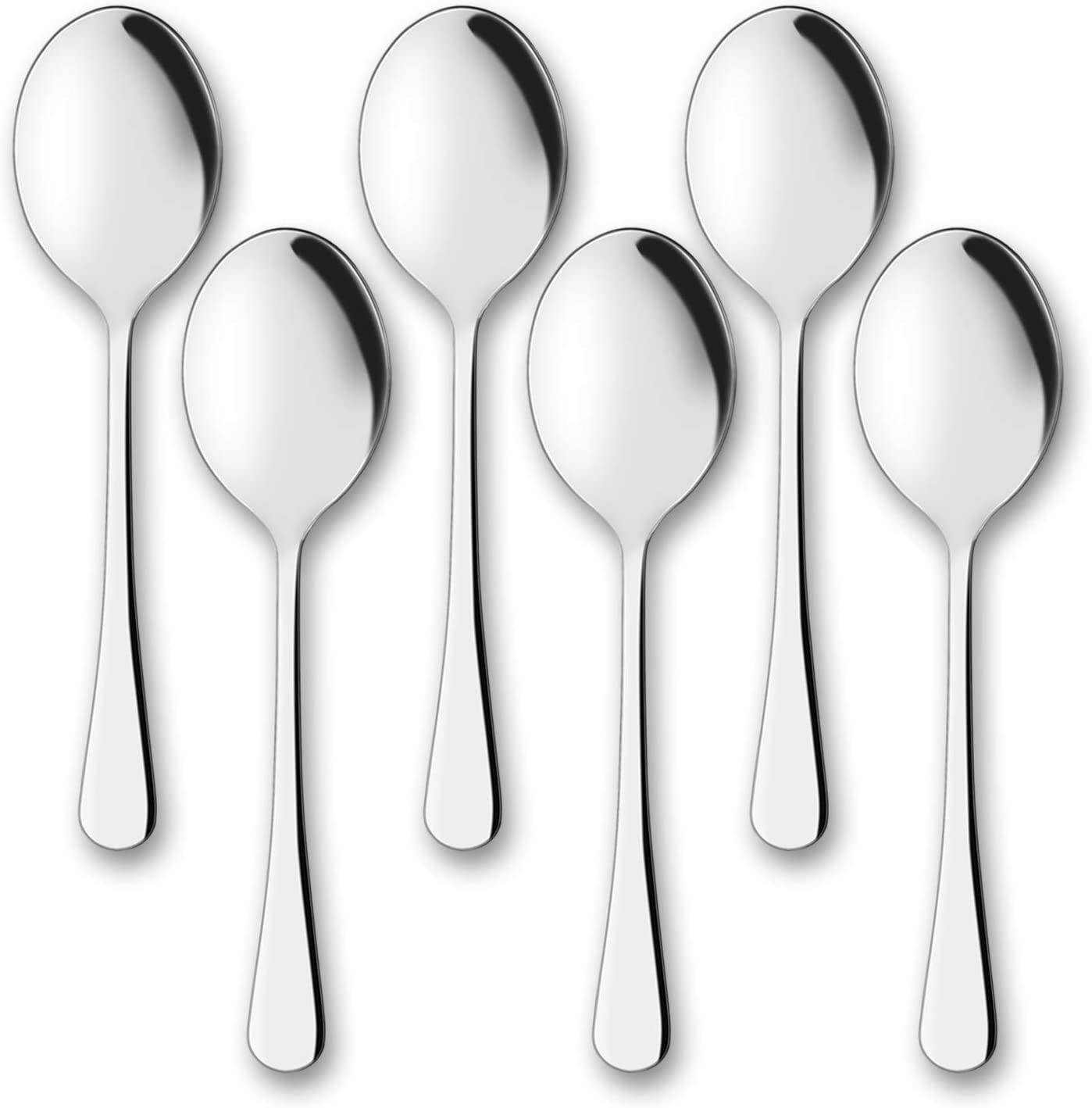 Serving Spoons, AOOSY 6 Pieces X-Large 9.8 Inches Stainless Steel Serving Spoon Catering Spoons Solid Serving Utensils Big Ladle Tablespoons for Buffet Banquet Flatware Kitchen Basics Serving