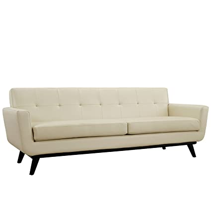 Modway Engage Mid-Century Modern Leather Upholstered Sofa in Beige