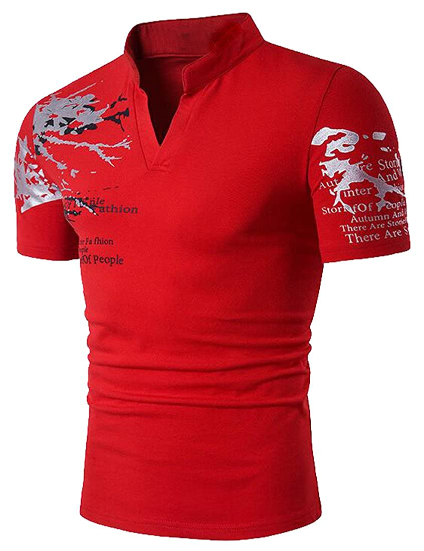 Pivaconis Mens Short Sleeve Regular Fit Dress Print Casual Stand Collar Henley Shirts