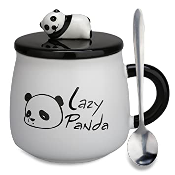 cute panda mugchristmas gifts coffee mugs porcelain tea cup with lid and spoon new