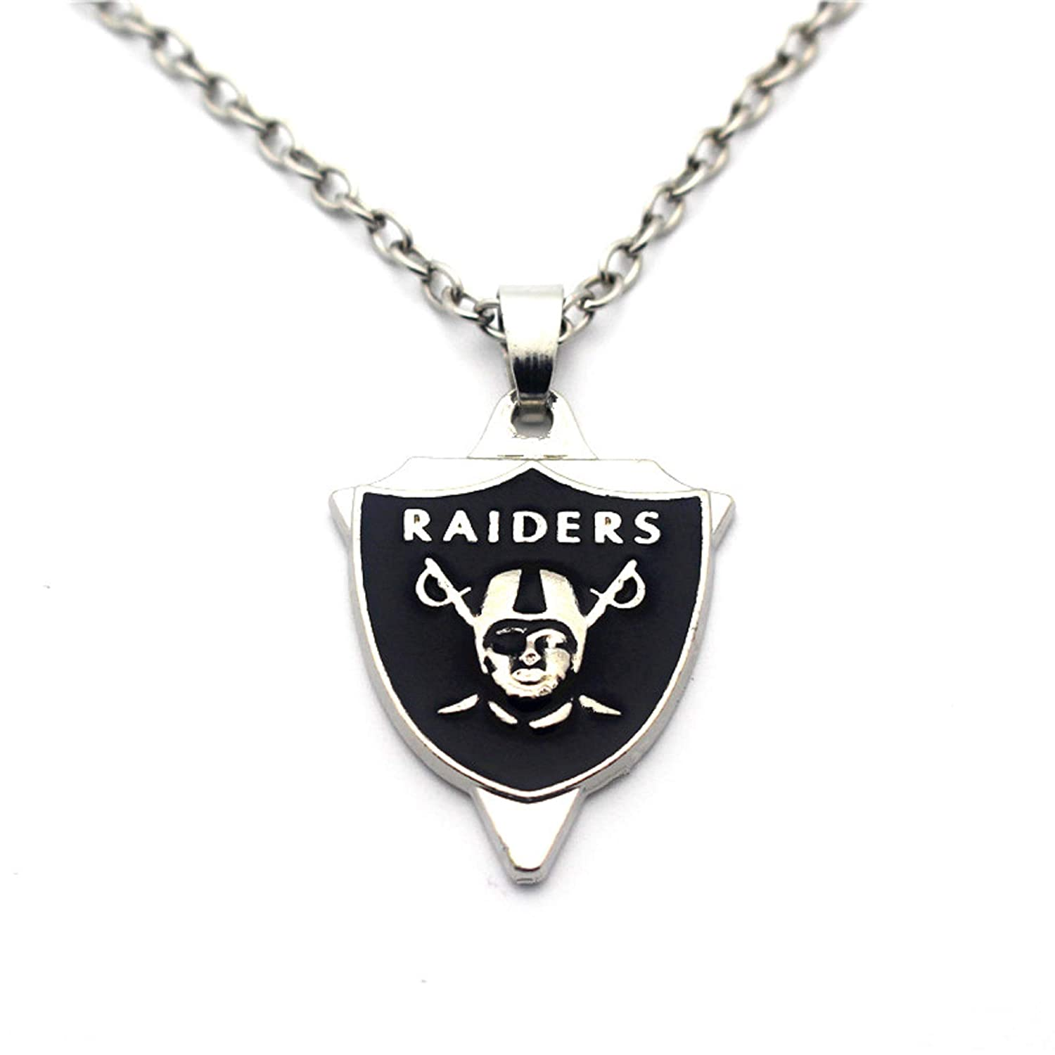 BAS Oakland Raiders Necklace with Triangle Pendant with 20 inch Stainless Steel Chain Necklace