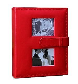 Wei Long PU Beautiful Photo Album Hold 200 Pockets, 4'x 6' Photos, (Red) 4x 6 Photos