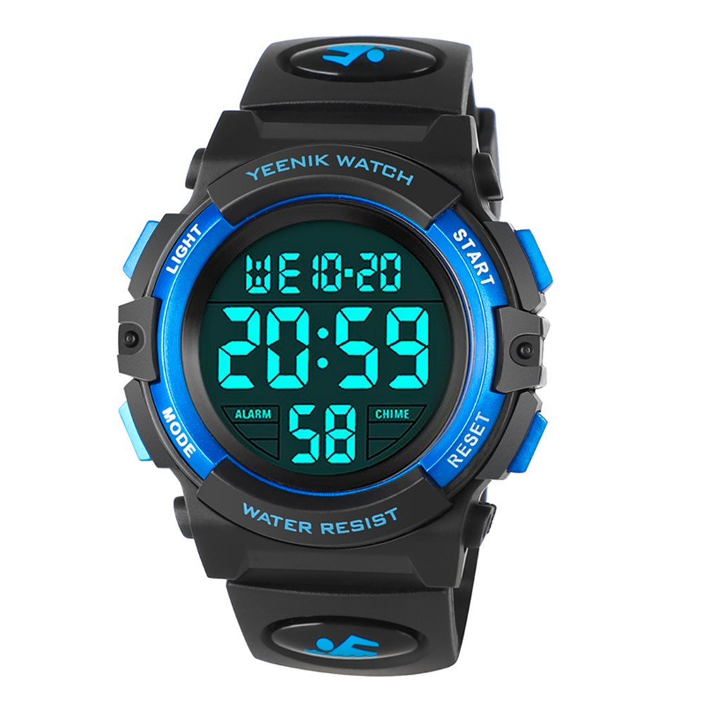 Kids Digital Sport Watch Military Led 50M Waterproof Electronic Wrist Watches with Alarm Chime Hourly Luminous 12/24 H Stopwatch Calendar Date for Boy Girl – Blue