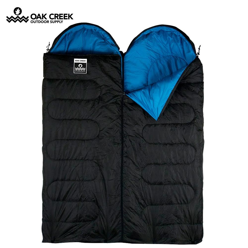 Double Sleeping Bag 2 Season Envelope Outdoor Camping Queen Size 250gsm Trail