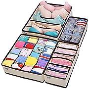 MIU COLOR Drawer Organizer, Closet Organizer Bra Underwear Drawer Divider 4 Set Beige