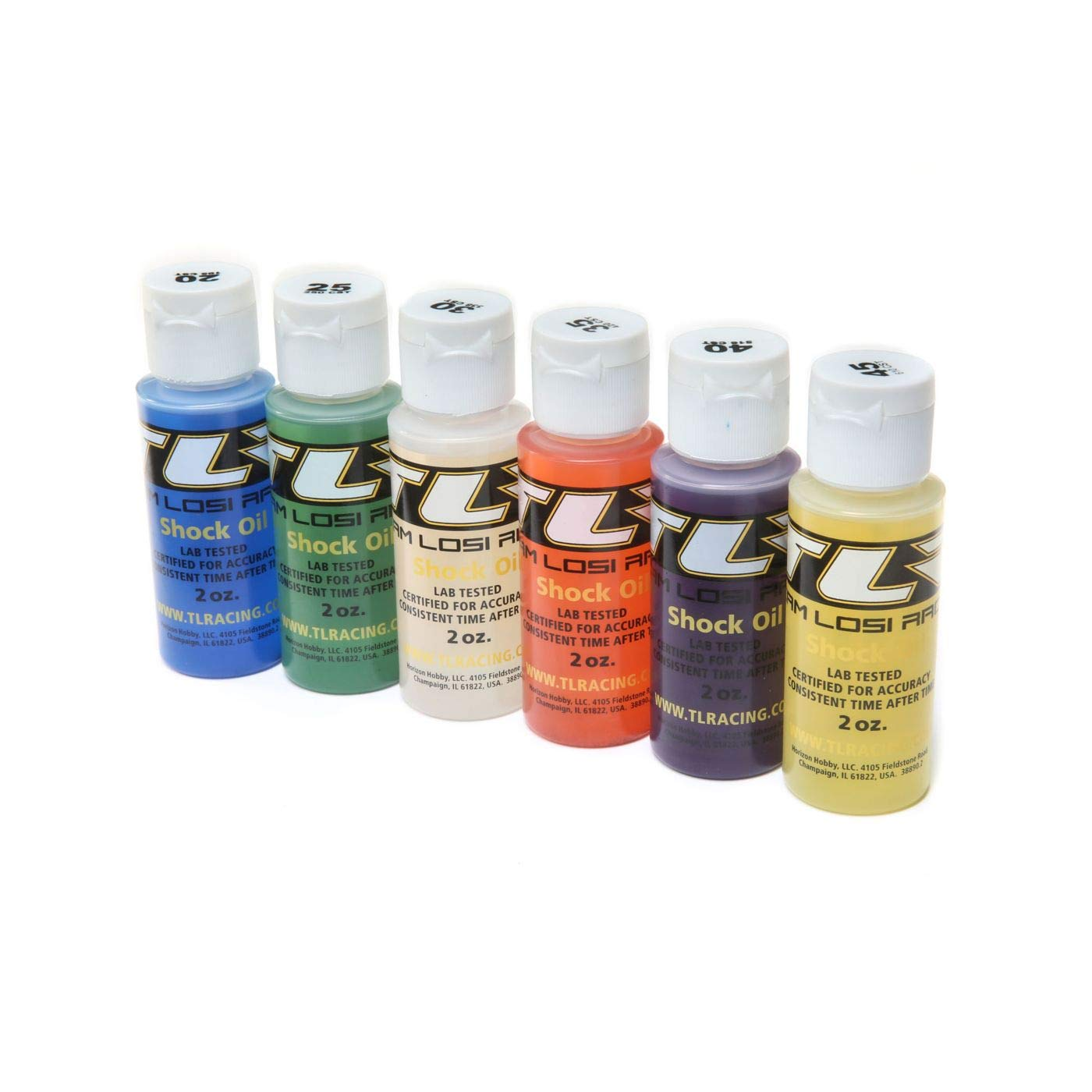 Team Losi Racing Shock Oil, 6Pk, 20, 25, 30, 35, 40, 45, 2oz, TLR74020 by Team Losi Racing