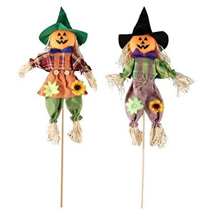 Ifoyo Fall Harvest Scarecrow Decor 2 Pack Pumpkin Halloween Decorations 23 6 Inch Medium Scarecrow Halloween