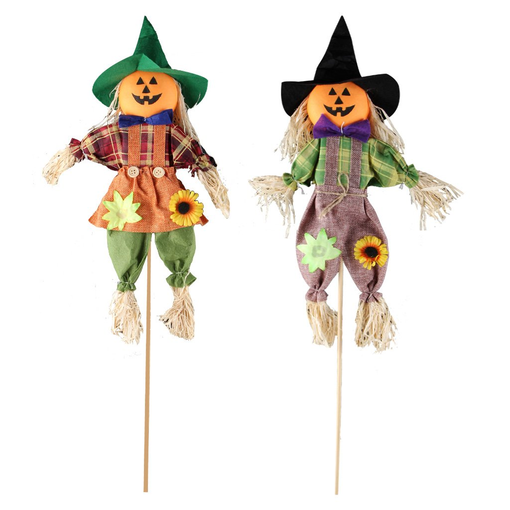 IFOYO Fall Harvest Scarecrow Decor, 2 Pack Pumpkin Halloween Decorations 23.6 Inch Medium Scarecrow Halloween Decoration for Garden, Home, Yard, Porch, Thanksgiving Decor