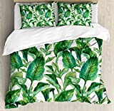 Ambesonne Leaf Duvet Cover Set King Size, Romantic Holiday Island Hawaiian Banana Trees Watercolored Image, Decorative 3 Piece Bedding Set with 2 Pillow Shams, Dark Green and Forest Green