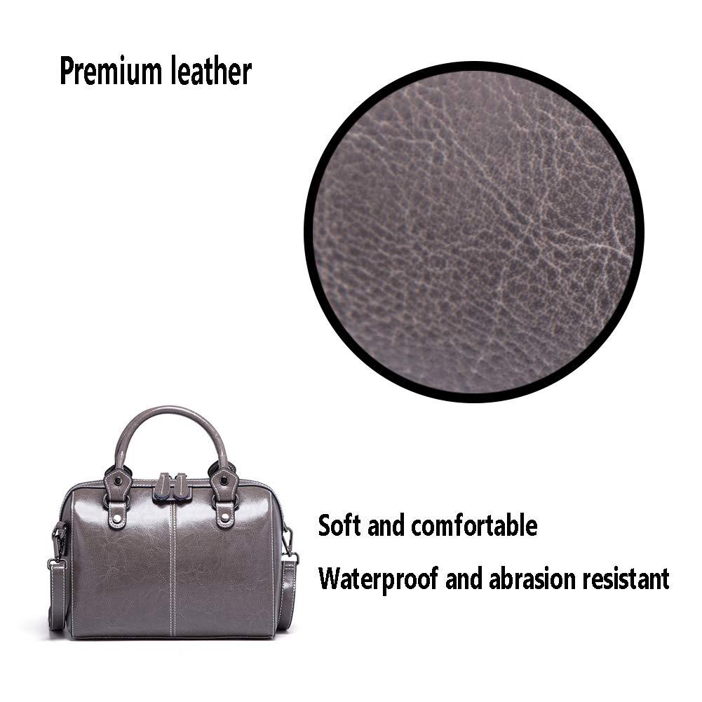 FFYUYI Solid Color läder kudde död, dam retro stor kapacitet axelväska, A en