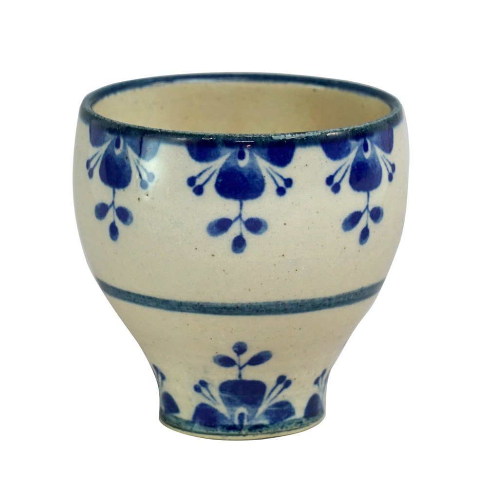 Mino ware Japanese Pottery Yunomi Chawan Tea/Wine Cup Rosemary Navy Blue made in Japan