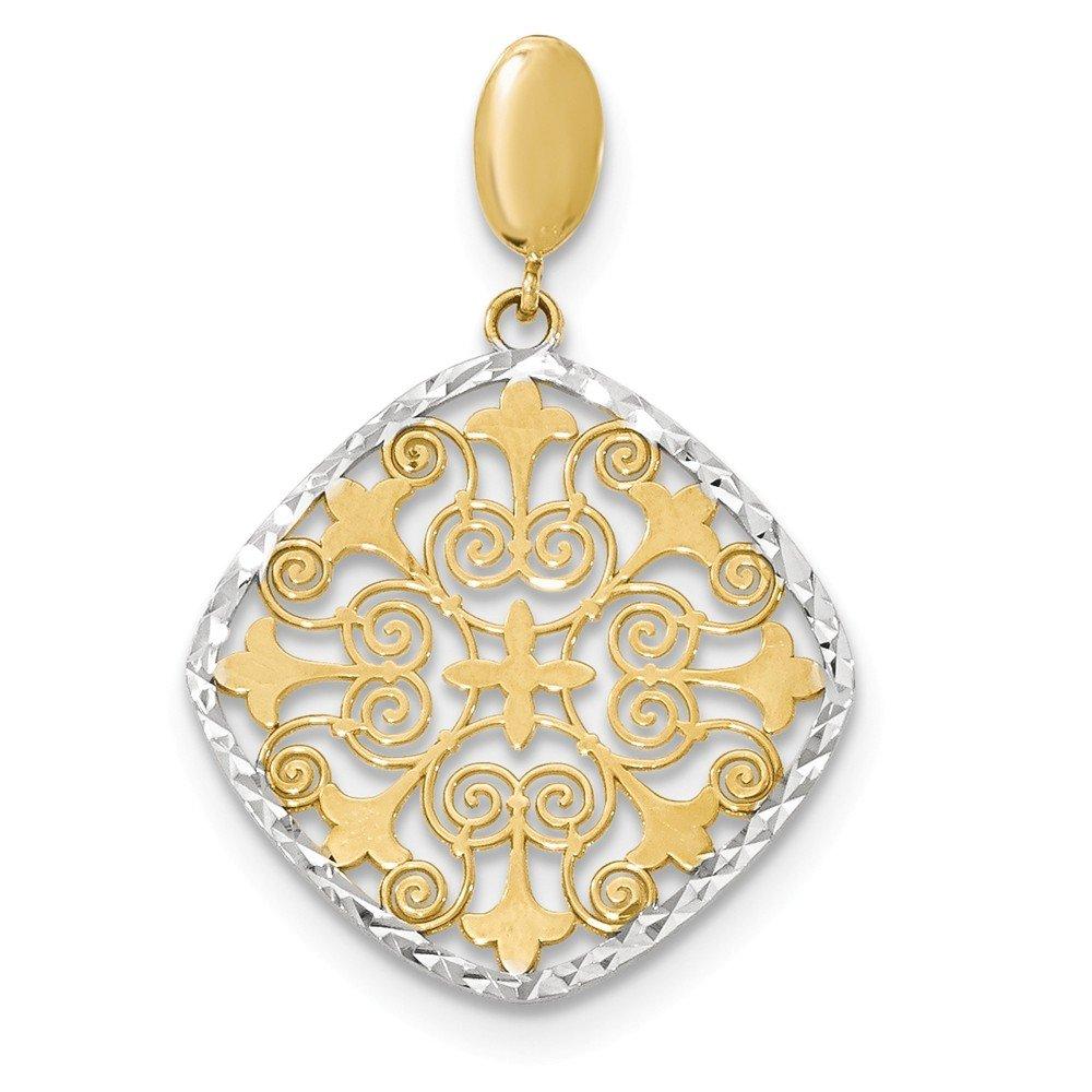 14k Yellow Gold and Rhodium Plated Fleur De Lis Pendant