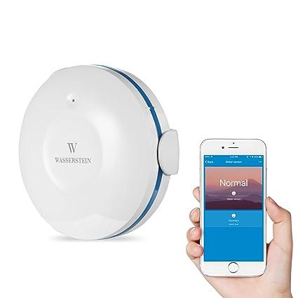 Wasserstein - Sensor de agua con Wifi inteligente, detector de inundaciones y fugas, con