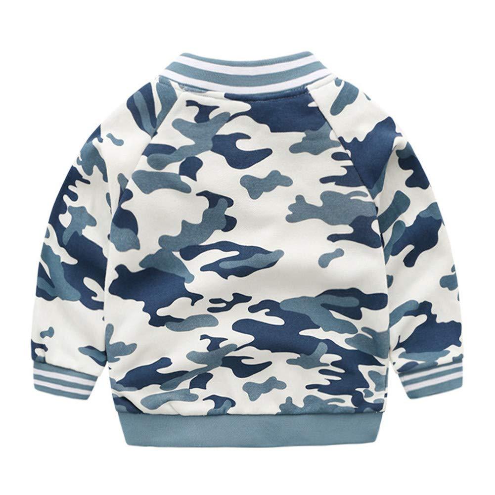 RACHAPE Boys Varsity Letterman Jacket Baseball Camo Print Coat Kids Girls Casual Slim Fit Sweatershirt