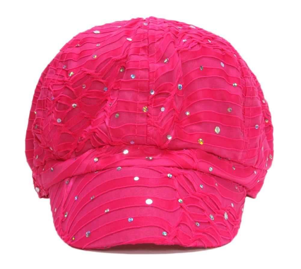 TOP HEADWEAR Women's Glitter Sequin Trim Newsboy Style Relaxed Fit Hat Cap - Fuchsia