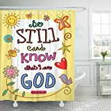 VaryHome Shower Curtain Scripture Bible Verse Cartoon Christian Christianity Clip Waterproof Polyester Fabric 72 x 72 Inches Set with Hooks