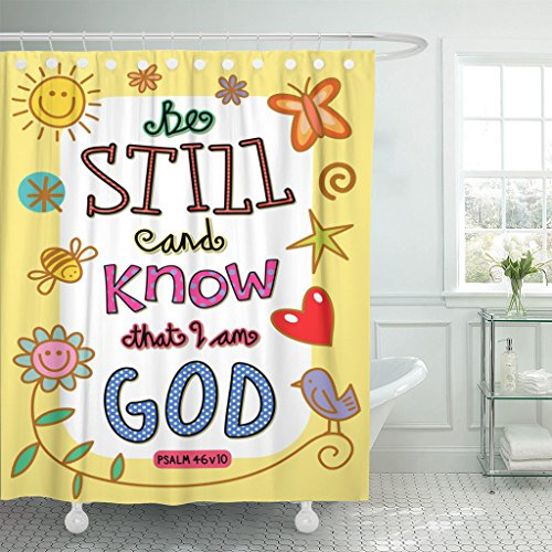 VaryHome Shower Curtain Scripture Bible Verse Cartoon Christian Christianity Clip Waterproof Polyester Fabric 72 x 72 Inches Set with Hooks by VaryHome