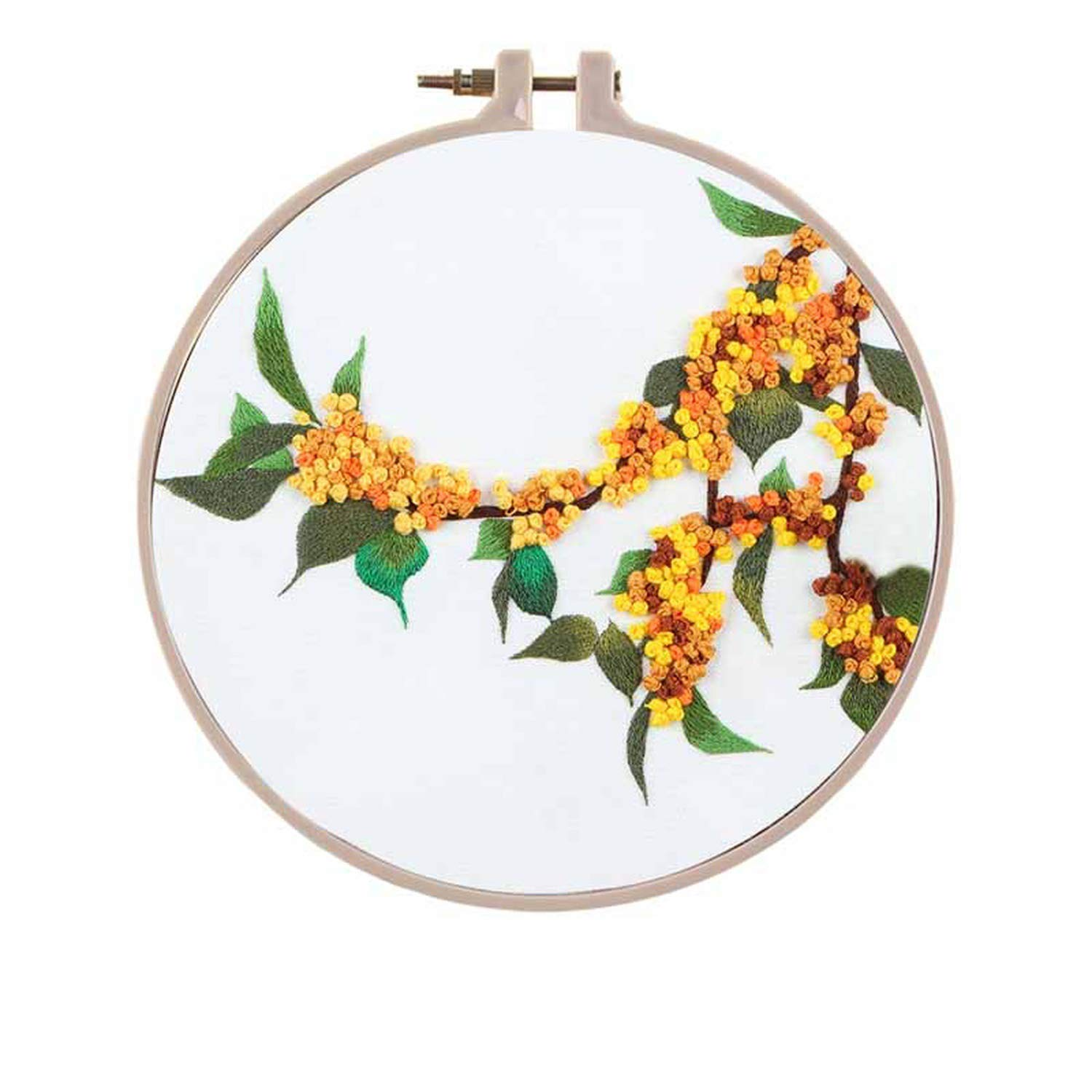 Handmade Chinese Flower Embroidery Kit with Hoop Needlework Cross Stitch Swing Meet Sets Art Handcraft Painting Wall Decor,6,Plastic Hoop by koweis