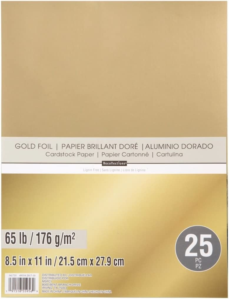 """Recollections Cardstock Paper 8 1//2/"""" x 11/"""" 25 Sheets GOLD FOIL single color"""