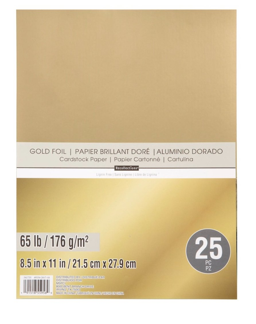 Gold Foil 65lb Cardstock Paper Recollections